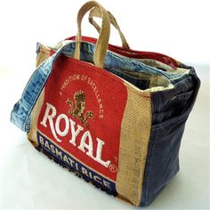 Recycled Burlap Rice Bag Market Tote by EmmeliWorks on Etsy, $55.00
