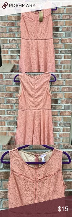 New Francesca's salmon pink lace dress New with tags  Lace outer, slip under  Zipper down back  Knee length   ~ big discounts for bundles  ~ next day shipping   #new #francescas #boutique Francesca's Collections Dresses Mini