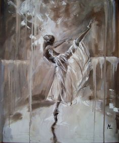 """ MAGIC OF BALLET ""- ballerina brown lihgt ORIGINAL OIL PAINTING, GIFT, CHRISTMAS (2015) Oil painting by Monika Luniak 