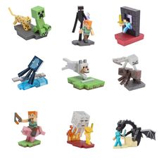"- Officially licensed and created by J!NX. - 2.25"" cubed. - PVC and ABS plastic. - Collect all 10: Alex & Enderman, Creeper & Ocelot, Enderdragon Fight, Ghast Fight, Nether Portal, Pig Rider, Spider J"