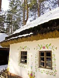 Beautiful cottage ~ Ukrainian ethno by Dimitri Fursenko, via Renovation Facade, Ukraine, Pintura Exterior, Ukrainian Art, Eastern Europe, Play Houses, House Painting, My House, Beautiful Places