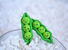 Kawaii Peas in a Pod Polymer Clay Charms  I tried making this...... FALED