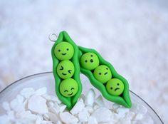 Kawaii Handmade Peas in a Pod Polymer Clay Charms by Linnypigs, $9.00