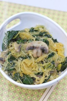 spaghetti squash with sauteed spinach, mushrooms, garlic and leeks.
