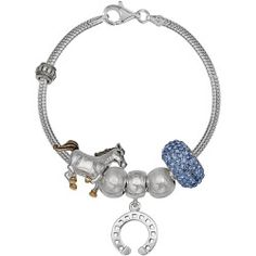 Individuality Beads Crystal Sterling Silver Snake Chain Bracelet & Horse Charm & Bead Set, Womens, Size: 7.5, Blue