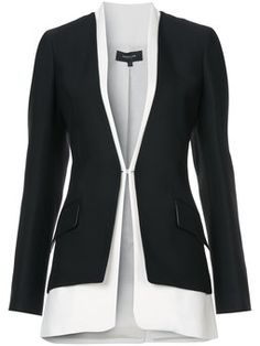 Bicolored Collarless Tailored Jacket