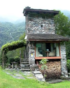 amazing stone house in the vineyards, Chiavenna, Italy. amazing stone house in the vineyards, Chiavenna, Italy. Cabins And Cottages, Tiny House Living, Stone Houses, Cabins In The Woods, Little Houses, Exterior Design, Future House, Beautiful Homes, Architecture Design