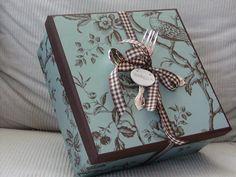 wallpaper + gingham ribbon+fork & spoon=beautiful presentation of gift