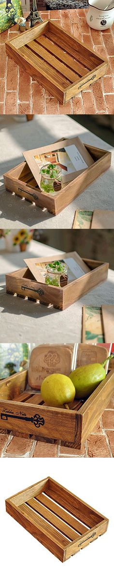 Wooden Serving Tray, Yamix Hollow Unfinished Wood Serving Tray DIY Home Decor Accent Piece - 23154cm - Yellow