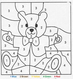 Teddy bear color by number