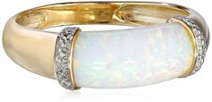 10k Yellow Gold Simulated Opal Center and Diamond Ring: Jewelry