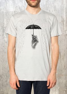 Men's T-Shirt - Illustration of Hand Holding Umbrella with Rain - American Apparel - Available in S, M, L, XL and by CrawlspaceStudios on Etsy Creative T Shirt Design, Shirt Print Design, Tee Shirt Designs, Tee Design, American Apparel, Cool T Shirts, Tee Shirts, California Shirt, T Shirt Painting