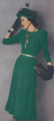 Vintage Knitting PATTERN Designer Knitted One Piece Classic Dress 1940s