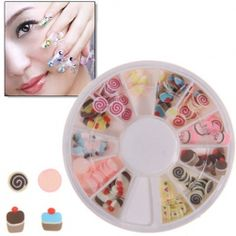New Lollipop and Cake Shape Nail Sticker with Round Turning Case for Nail Art