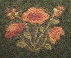 Flowers in Winter 8 x 10 Rug Hooking Pattern PDF by lavenderwool , Wool Applique, Embroidery Applique, Embroidery Patterns, Needlepoint Patterns, Punch Needle Patterns, Latch Hook Rugs, Rug Hooking Patterns, Hand Hooked Rugs, Penny Rugs