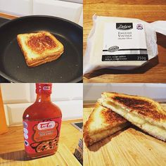 The only way to make a toasty is in the pan with cheddar cheese and sweet chilli sauce ! #grilledcheese #cheddar #cheese #britishfood #sweetchillisauce #taotao