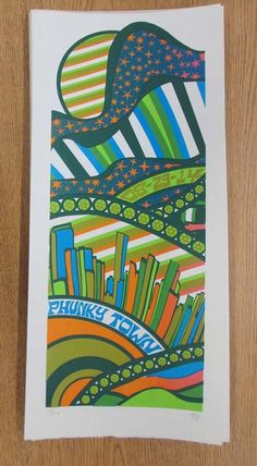 Original silkscreen concert poster for Phish at Dick's Sporting Goods Park in Commerce City, CO in 2014. It is printed on Watercolor Paper with Acrylic Inks and measures around 10 x 22 inches.  Print is signed and numbered out of only 189 by the artist Tripp.