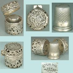 Antique Sterling Silver Thimble Case & Thimble by Webster Co. * Circa 1890s