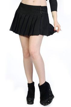 HELL BUNNY Mini Skirt Black UNEVEN OLLY Tartan Punk/Goth RED S 10 ...