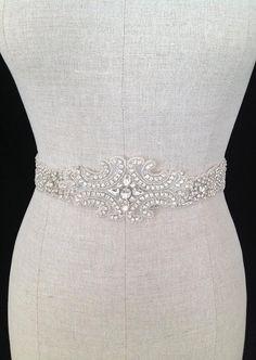 "FALL SPECIAL- Rhinestone Crystal Floral Sash Satin Bridal Sash ""The Blossom Luxe"". $75.00, via Etsy."