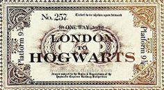 harry potter london hogwarts train ticket