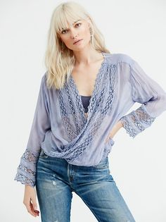 Free People One Embellished Mia Wrap Top but in ivory.