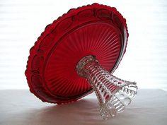 Red Cake Stand Pedestal / Wedding Centerpiece / by AmiteaOrganics