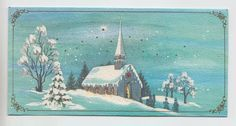 Vintage Winter Glitter Church Christmas Greeting Card