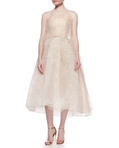 Iridescent Chantilly Lace Overlay Tunic & Strapless Iridescent Lace Tea-Length Dress, Blush by Monique Lhuillier at Neiman Marcus.