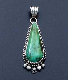 Linda Yazzie (Navajo) - Green Turquoise & Sterling Silver Teardrop Pendant #39557 $165.00 Modern Jewelry, Vintage Jewelry, Handmade Jewelry, Jewelry Ideas, Jewelry Accessories, Jewelry Design, Gemstone Pendants, Mexican Jewelry, American Indian Jewelry
