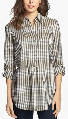 Lafayette 148 New York Plaid Roll Sleeve Blouse