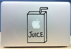 *One size fits all apple juice sticker for your MacBook!    *High Quality Vinyl with a 5 year life span!    *Removes easily with no residue left