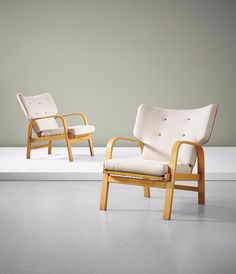Magnus Stephensen; #23 Beech Lounge Chairs for Fritz Hansen, 1932.
