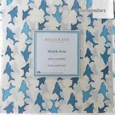 HILLCREST-Shark-3PC-TWIN-SHEET-SET-navy-blue-white-COTTON-NAUTICAL-Boy-NEW