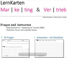 LernKarten - Industriefachwirt Marketing & Vertrieb (IHK) Chart, Marketing, Author, Learning Methods, Note Cards, Project Management, Career