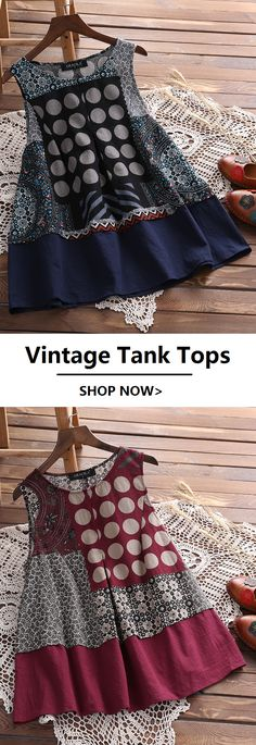 Plus Sizes Ethnic Printed Vintage O-neck Tank Tops.Sizes from US 8 to US 20.Worldwide Shipping.#newchic#tops#tanktops#fashion#summer#outfits