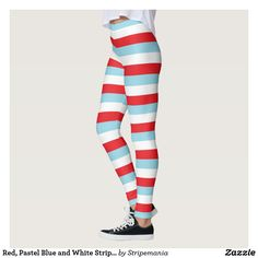 Red, Pastel Blue and White Stripes Leggings