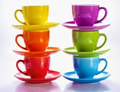 Rainbow Colourfull Time when come to drinking Water, Tea or Coffee with Rainbow Cups. 😉❤💛💚💙🌈