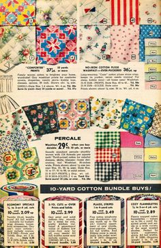 Beautiful vintage fabric!!!! The sewing Club of the 50's liked the Aldens Catlog 1956-7 via what-i-found
