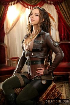 Sexy leather steampunk cosplay