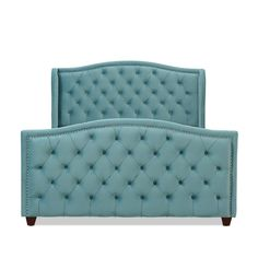 Gracewood Hollow Stanford Contemporary Tufted Wingback Bed | Overstock.com Shopping - The Best Deals on Beds - Arctic Blue - Velvet - Queen Upholstered Platform Bed, Upholstered Beds, Wingback Bed, Luxury Bedroom Design, Beds For Sale, Headboard And Footboard, Luxurious Bedrooms, Blue Velvet, Bed Design