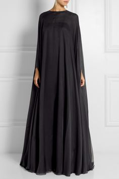 Valentino | Charcoal silk-chiffon Button-fastening keyhole at back 100% silk Dry clean