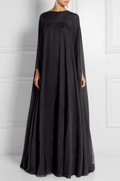 Valentino|Robe longue du soir en mousseline de soie drapée|NET-A-PORTER.COM