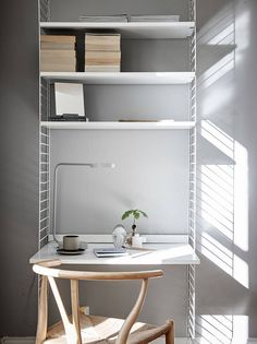 Simple home office design with small office table Interior Design Themes, Scandinavian Interior Design, Gray Interior, Office Interior Design, Office Interiors, Interior Design Inspiration, Scandinavian Style, Design Ideas, Nordic Design