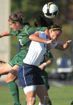 A kent state soccer player goes up to head the ball against Ohio University. Photo taken by Bob Christy on Sept. 18, 2009.