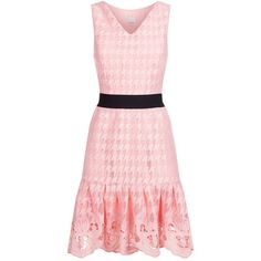 Pinko Dogtooth Lace Dress (10.550 RUB) ❤ liked on Polyvore featuring dresses, pinko dresses, pastel lace dress, lightweight dresses, pink dress and pink lace dress