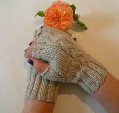 Wool Alpaca Fingerless Gloves Women, Cabled Persephone Handwarmers, Silver Grey…