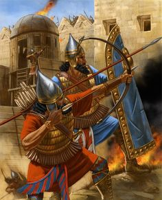 Assyrian warriors besieging a city