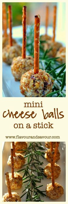 Mini Cheese Balls on a Stick--Fun Finger Food. One of the easiest appetizers ever! A creamy bite perfectly balanced with sharp blue cheese and sweet cranberries.