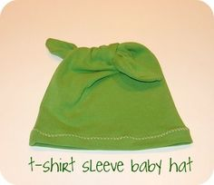 Sew T Shirt sleeve into baby hat recycle
